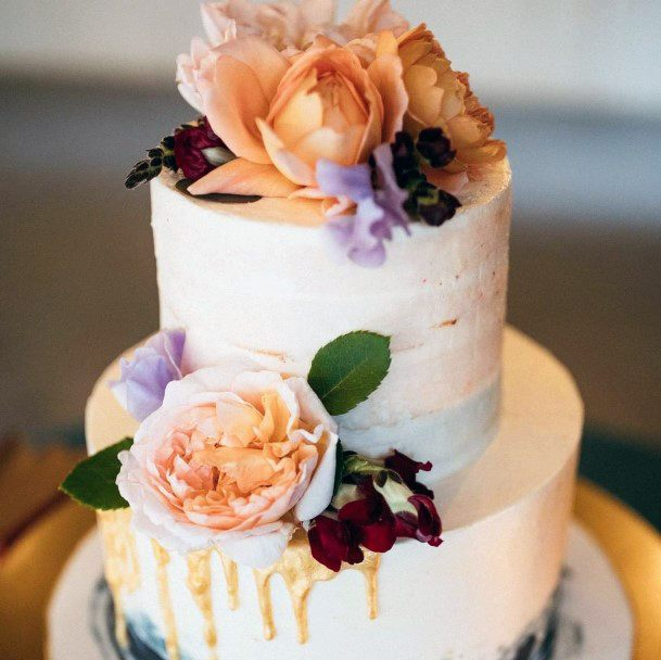 Peachy Colors Two Tier Wedding Cake Ideas