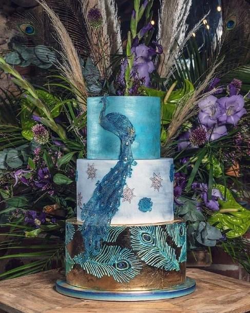 Peacock Blue Wedding Cake
