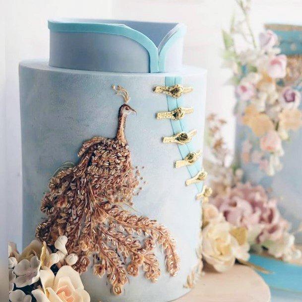 Peacock Design Unique Wedding Cake