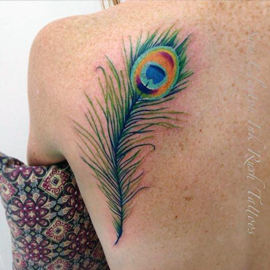 Peacock Feather Tattoo Womens Back