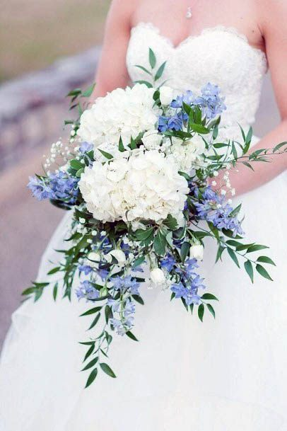 Pearl White And Powdery Blue August Flowers Wedding