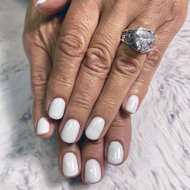 Pearl White Gel Nails Women
