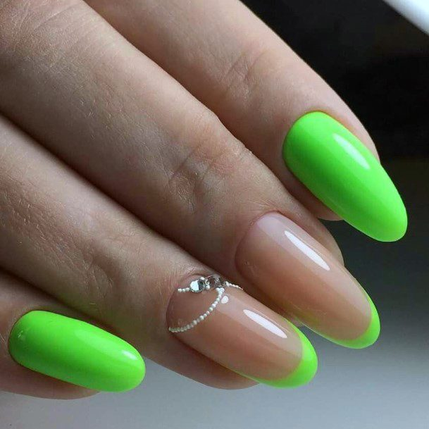 Pearls And Crystal Neon Green Nails