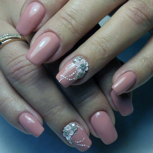 Pearly Pink 3d Nails For Women