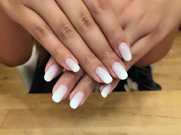Pearly White Ombre Nails Women