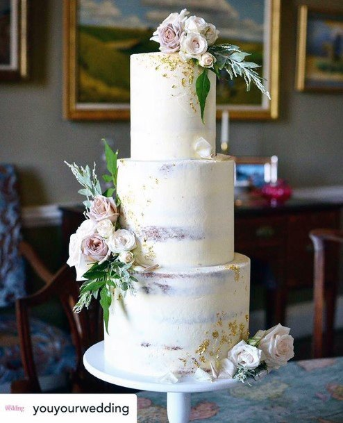 Perfect White 3 Tier Wedding Cake Women