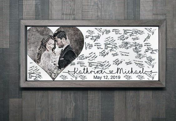 Personalized Couple Photograph Wedding Guest Book Ideas