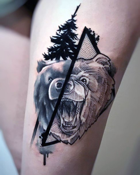 Pine Tree Black And Angry Bear Tattoo For Women