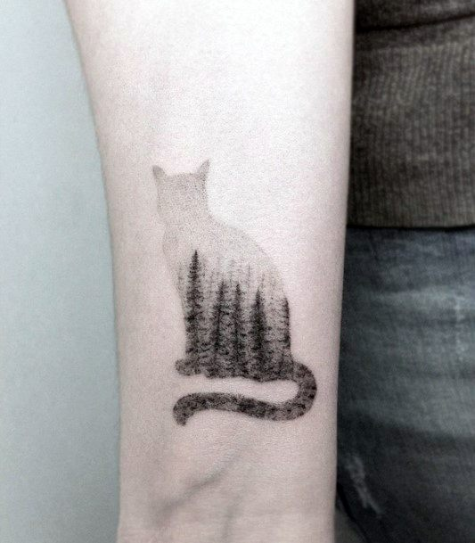 Pine Trees Landscape On Cat Tattoo For Women