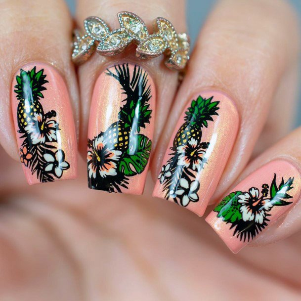 Pineapple And Flower Onpeach Tropical Nails Women