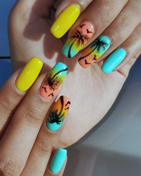 Pineapple Yellow Tropical Nails Women