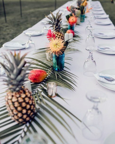 Pineapples And Tropical Wedding Flowers