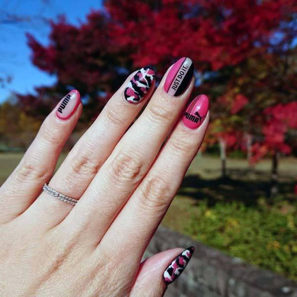Pink And Black Sport Nails For Women
