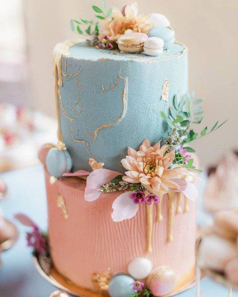 Pink And Blue Wedding Cake Beautiful