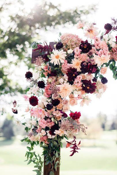 Pink And Dark Red August Wedding Flowers