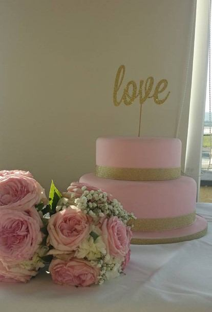 Pink And Gold Wedding Cake With Love Cake Topper Selinas Cakes