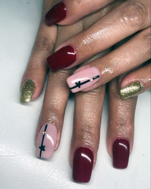 Pink And Gold With Red Heartbeat Nail Design