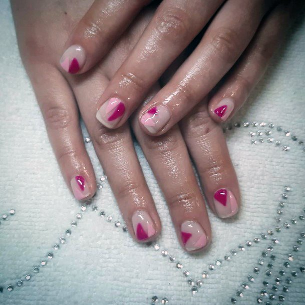 Pink And Magenta Angled Design On Nails