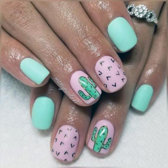 Pink And Pista Green Cactus Nails Women
