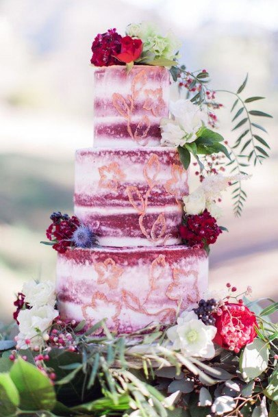 Pink And Red Velvet Wedding Cake
