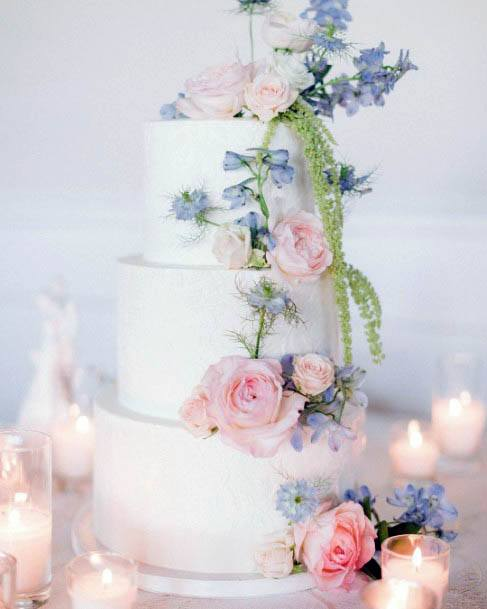 Pink And Violet Flowers Cake Wedding