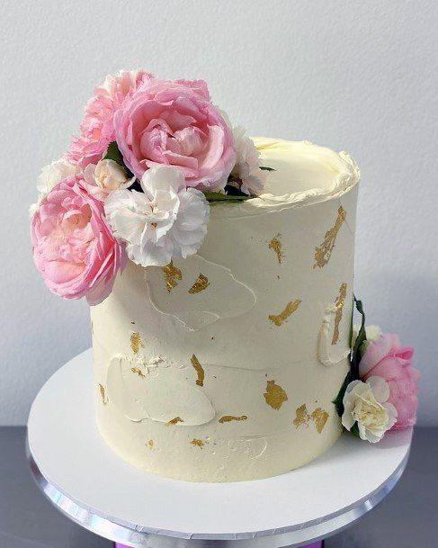 Pink And White Flowers Red Velvet Wedding Cake