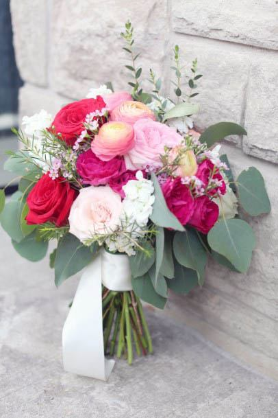 Pink And White Rose Flowers Wedding