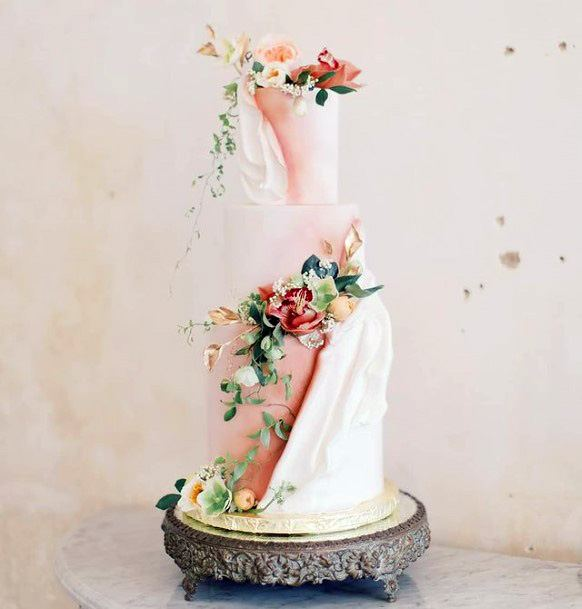 Pink And White Unique Wedding Cake