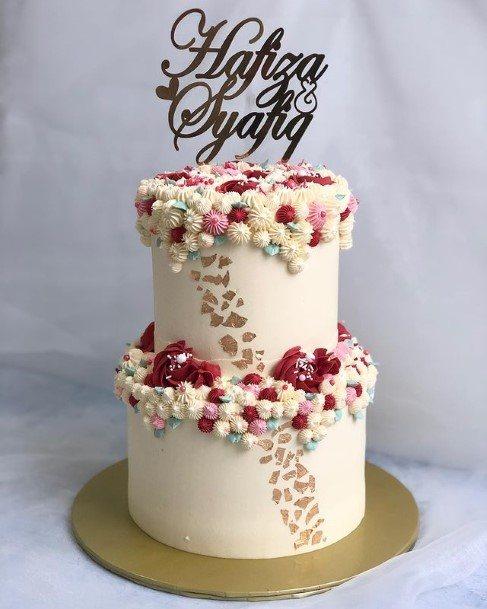 Pink Balls Decor 2 Tier Wedding Cake