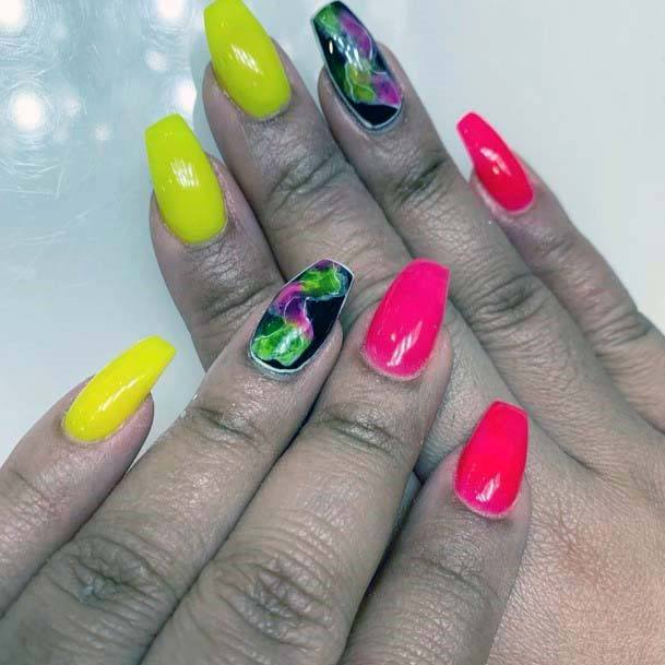 Pink Black Green And Bright Yellow Nails For Women