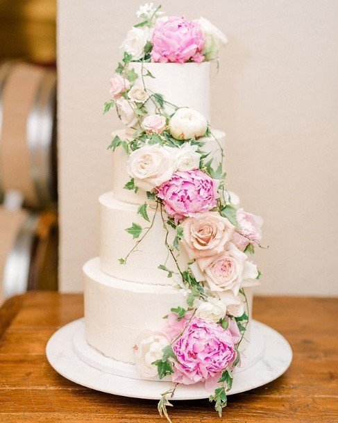 Pink Cream Roses Beautiful White Wedding Cakes