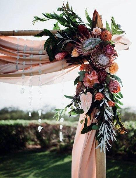 Pink Curtain And Hawaiian Wedding Flowers