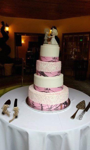 Pink Design Camo Wedding Cakes