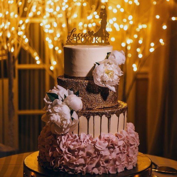 Pink Flowers And Gold Wedding Cake