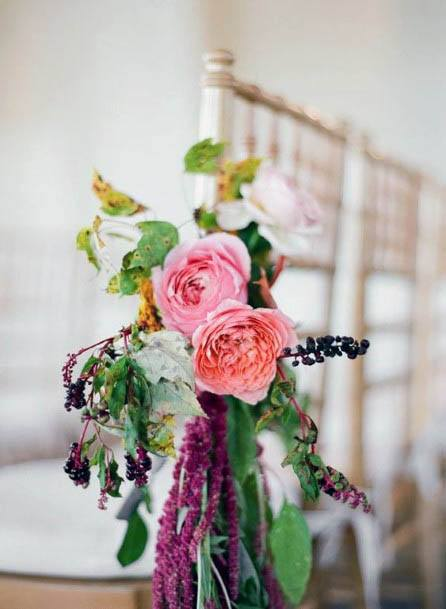Pink Flowers Wedding With Violets