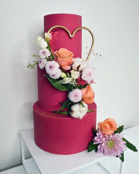 Pink Fondant Red Velvet Wedding Cake