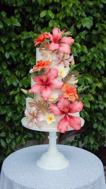 Pink Hibiscus Tropical Wedding Flowers Cake
