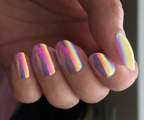 Pink Iridescent Nails Women