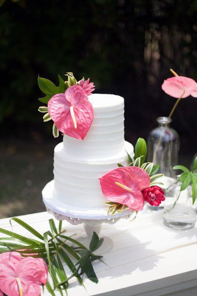 Pink Leaf On White Cakes Tropical Wedding Flowers