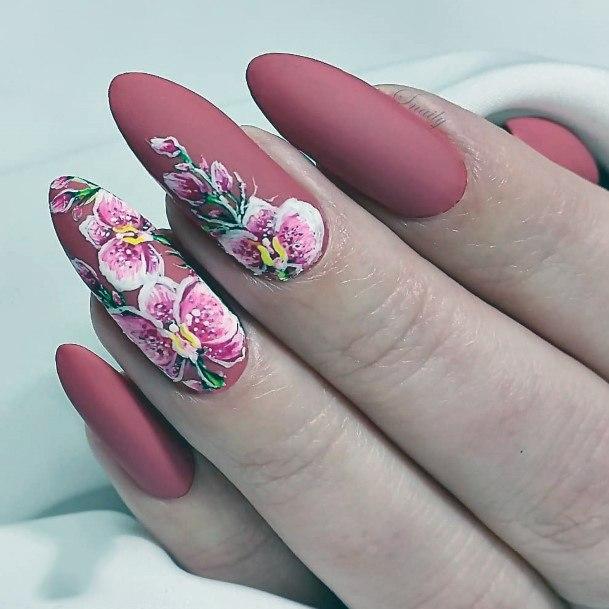 Pink Matte Orchid Nails