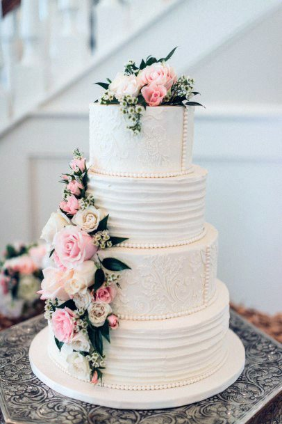Pink May Wedding Flowers On Cake