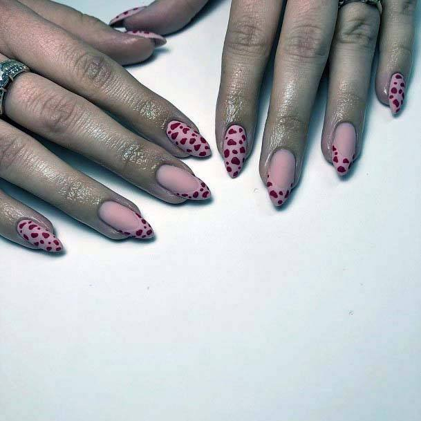 Pink Nails And Red Animal Print For Women