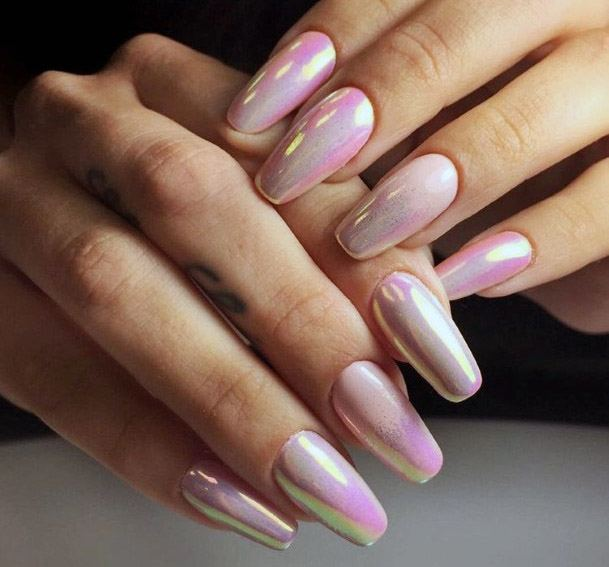 Pink Ombre Iridescent Nails Women