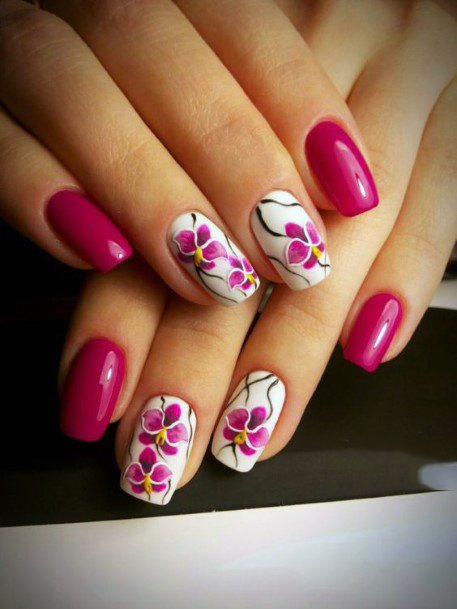 Pink Orchid Blossoms Nail Design
