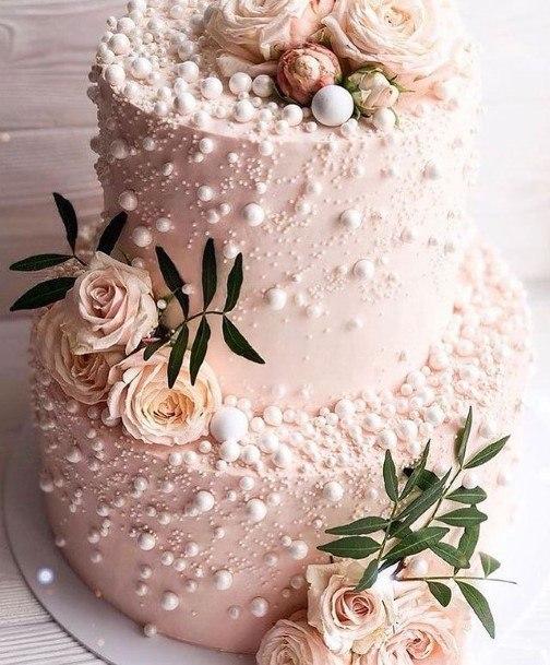 Pink Pearl Roses Beautiful Wedding Cake