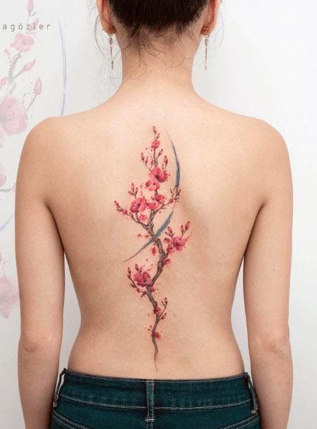 Pink Plant Spine Tattoo Women