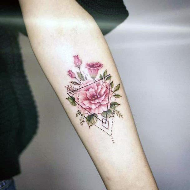 Pink Rose And Geometric Tattoo For Women