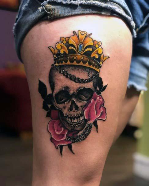 Pink Roses Skull Yellow Crown Tattoo Womens Thighs