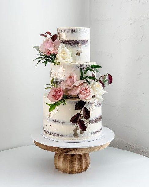Pink Roses White Wedding Cake
