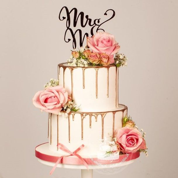 Pink Rosy Buttercream Wedding Cake